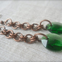 Fern Green Pure leaf Chainmaille Earrings Swarovski crystal pendant Vintage style copper Antiqued metal Boho chic fashion