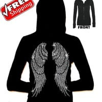 New Rhinestone ANGEL WINGS Black Junior's Zipper Hoodie XS-3XL faith love sexy