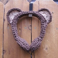 Brown Bear Crocheted Headphones