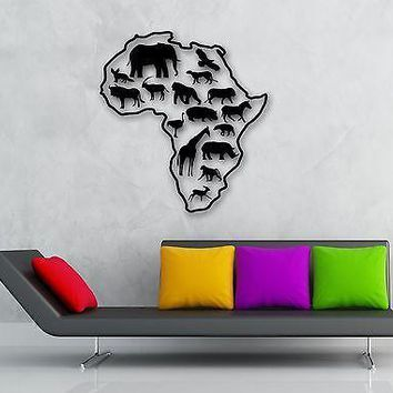 Wall Stickers Vinyl Decal Africa Animals Elephant Giraffe Nursery Baby Unique Gift (ig848)