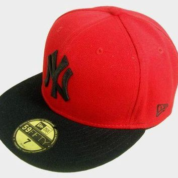 New York Yankees New Era Mlb Authentic Collection 59fifty Cap Red Black