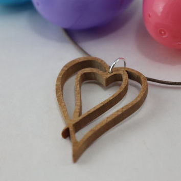Cherry wood double heart necklace, wooden necklace, handmade heart necklace, wood pendant necklace, special gift