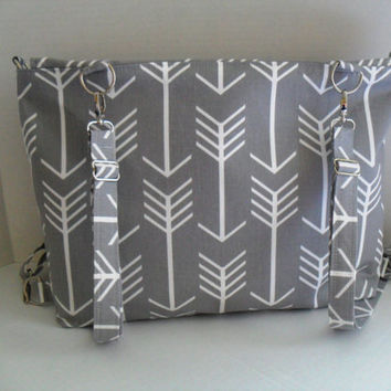 Large Backpack Diaper Bag Convertible - Gray Arrow - Zipper Closure - Messenger - Tote Bag - Diaper Bag - Monogramming Available - Laptop