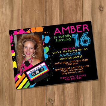 Totally Awesome 80's Birthday Party Invitation with Photo (Digital - DIY)