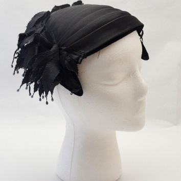 Vintage Black Fascinator Hat with Fabric Leaves, Beads, Pleated Satin and Velvet Bow, circa 1950s Cocktail Hat