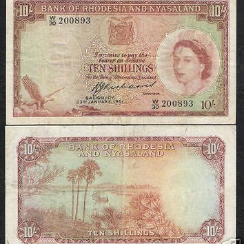 RHODESIA & NYASALAND 10 SHILLINGS P20 1961 QUEEN SHIP RARE AFRICA CURRENCY NOTE