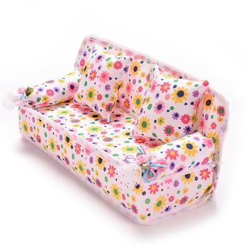Mini Furniture Flower Sofa 20cm Couch +2 Cushions For Doll House