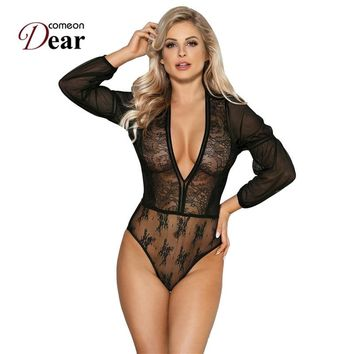 Comeondear Blue Black Lace Sleeve Long Sleeve Bodysuit V-neck Sheer Mesh Playsuits And Jumpsuits Vintage Women Bodysuit RK80542