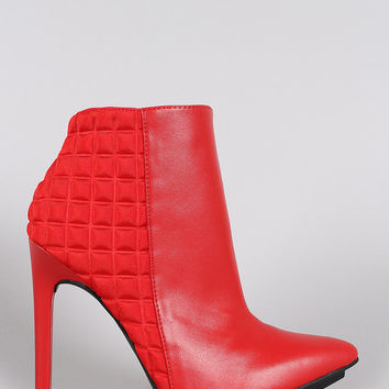 Checker Embossed Pointy Toe Stiletto Booties