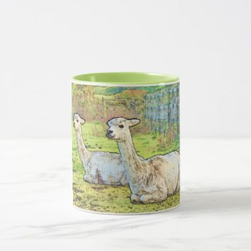 White Alpacas on Farm Mug