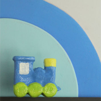 Blue and green train knob for boys nursery, paper mache drawer pull for kids room, costumizable furniture fixture out of recycled materials