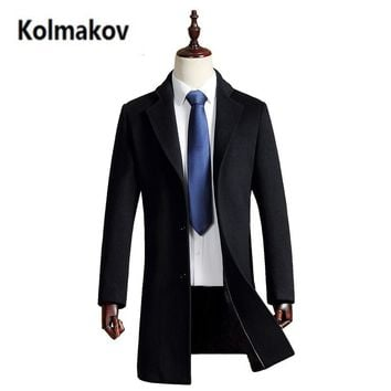 2017 new Men's Wool Coats Cashmere Jacket, Man Long fashion Single Breasted Turn-down Collar Casual Woolen Overcoat,full size.