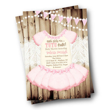 Tutu Baby Shower invitation Onesuit invite girl rustic pink with bunting flag tutu cute printed or printable baby shower invitation 5x7