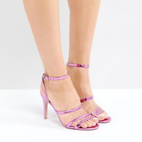 Faith Disco Metallic Strap Sandals at asos.com