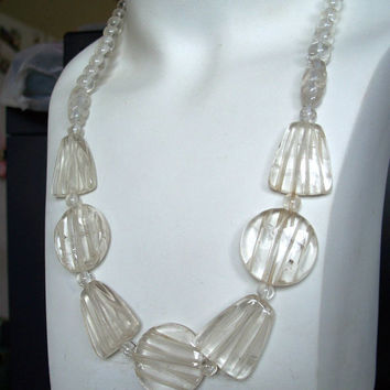 Vintage Carved Rock Crystal Bead Necklace Unusual Bold
