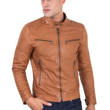 Brown Genuine Leather Biker Jacket