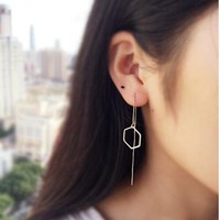 SMJEL New Fashion Simple Geometric Hexagon Stud Earrings for Women Long Chain Earing Bridesmaid Jewelry dropshipping SYED103