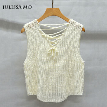 Julissa Mo Knitted Tank Top Sexy Sleeveless Lace Up Cropped Tops Women 2016 Casual Beach Club Party Crochet Top Camisole
