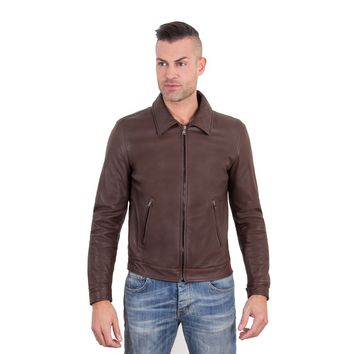 Men's Leather Jacket shirt collar two pockets dark brown color LEO