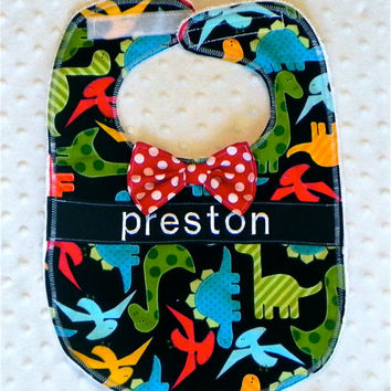 Personalized Bib with Dapper Bow Tie - Baby Boy Black and Red Dinosaurs and Polka Dots