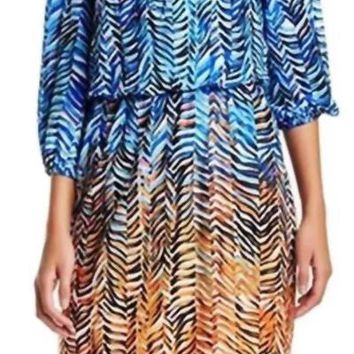 London Times - T1457M Quarter Sleeve Print Blouson Dress