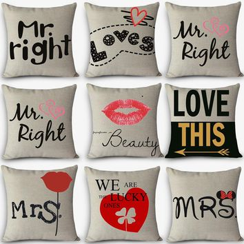 High quality cheap pillows LOVE MR MRS RIGHT Print Home Decorative Cushion Vintage Cotton Linen Square Throw Pillow MYJ-G7