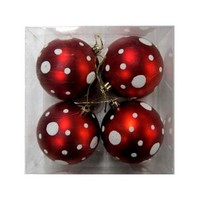 Queens of Christmas WL-ORN-4PK-DOT-RE Red and White Ball Ornament with Dot Design - 4-Pack - Walmart.com