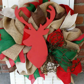 Christmas Reindeer Wreath Burlap Deer Decor Indoor Christmas Wreath Burlap Christmas Rustic Red Reindeer Christmas Wreath Deer Christmas