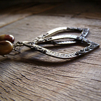 Boho Raindrop Earrings, Antiqued Brass Hoops, Big Drop Earrings, Bohemian Jewelry, Red Mustard Jasper, Rustic Gemstone Hoop Earrings
