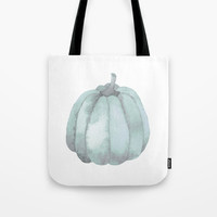 blue pumpkin Tote Bag by Sylvia Cook Photography