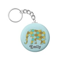 Olive Green Blue Elephant Personalized Basic Round Button Keychain
