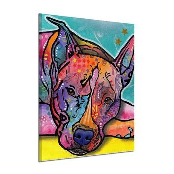 Dreamfactory Hand-painted Modern Art Dog Oil Painting on Canvas Handmade Abstract Animal Paintings for Wall Decoration No Framed