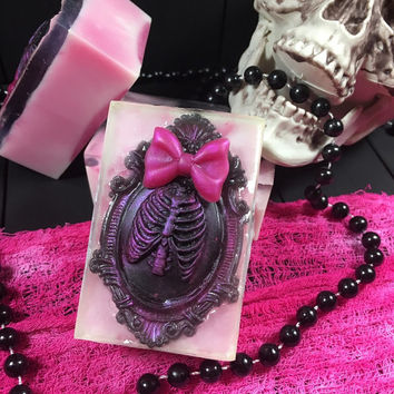 Drop Dead Gorgeous Soap,skeleton Soap,ribcage Soap,Cameo Soap,Cameo,Soap,Handmade Soap,bar Soap,Twisted Soap,gothic soap,Glycerin Soap