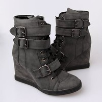 Nature Breeze Extra High Wedge Sneakers - Black
