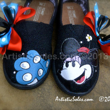 Hand Painted Custom TOMS - Minnie Mouse - Toddler/Tiny TOMS