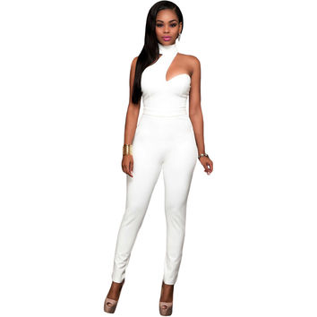 White Choker Fashion Jumpsuit LAVELIQ
