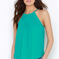 Atlantis Is It Teal Green Halter Top