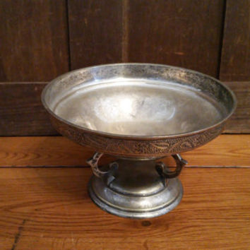 Vintage Silver Plated Footed Bowl Compote EPNS India Great for Entertaining Decor