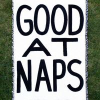 Good At Naps Throw Blanket — Black and White Cotton Throws — Classic Home Accessories — B&W Blankets — Kids Bedroom  — Dorm Room Decor