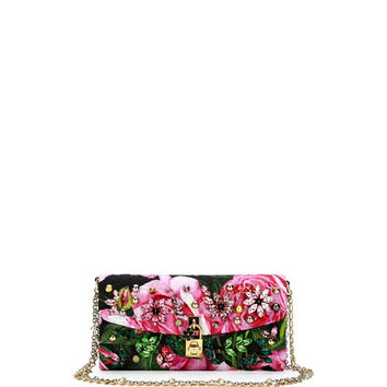 Dolce & Gabbana Small Jeweled Rose Brocade Evening Chain Shoulder Bag, Black/Pink/Green