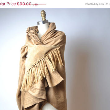 Cream Wrap Shawl - Wool and Leather Shawl - Big Scarf Shawl - Wool Wrap Shawl