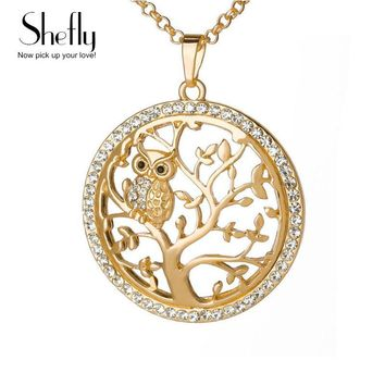 Small Owl Pendant Necklace Tree Of Life Women Rose Gold Silver Color Chain Crystal Long Necklaces & Pendants Jewelry XL07298