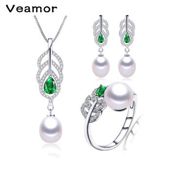 Veamor Silver Plated Jewelry Natural Pearl Long Drop Earrings and Pendant Necklace Jewelry Sets Birthday Gift Box