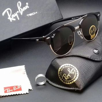 """UNISEX USED FANCY LOOK RAY-BAN(G-15""""LENS)SUNGLASSES BLACK &SILVER LEVEL Up DMT64"""