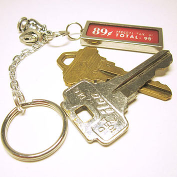 KEY RING Key Chain Silver Lantern And Cowboy Hat Large Charm With Red Tax Sign Nostalgic Gift For Him