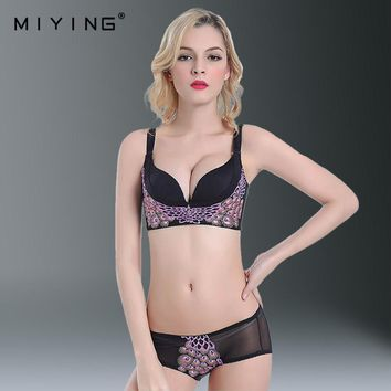 MIYING 2017 New Bra Brief Sets Seamless Push Up Rhinestone Peacock Embroidery Women's Underwear