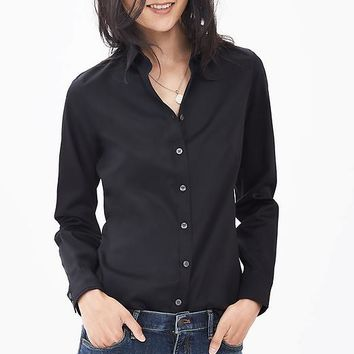 Banana Republic Womens Fitted Non Iron Sateen Shirt