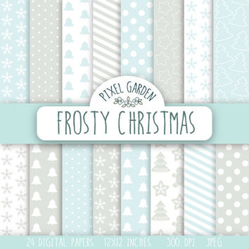 SALE - 50% OFF. Frosty Christmas Digital Paper Pack, Snowflakes Scrapbooking Paper, Digital Clip Art, Mint and Grey Printable Paper.