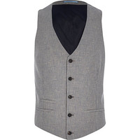 River Island MensGrey houndstooth single breasted vest