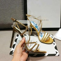 shosouvenir  Gucci 18 spring and summer knitted high heeled sandals